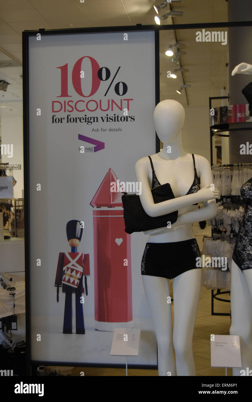COPENAHGEN /DENAMRK 04 June  2015_  Magasin du nord apartment store offers 10% discount to foreign visitors     - Stock Image
