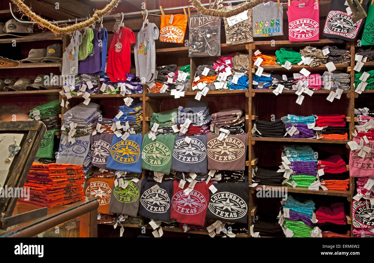 A Luckenbach tee-shirt is a must-have for those who find the tiny burg of Luckenbach in the Texas Hill Country. - Stock Image