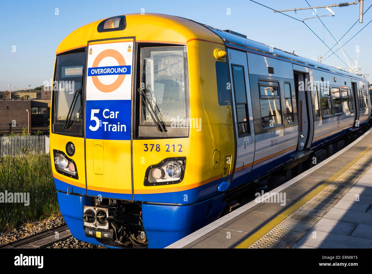 London Overground 5 car train at Willesden Junction, London, England, U.K. - Stock Image