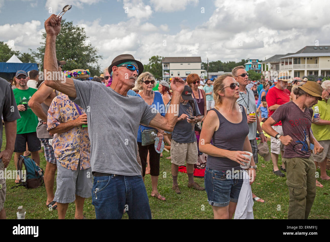 New Orleans, Louisiana - People dance and listen to music during the Mid-City Bayou Bougaloo. - Stock Image