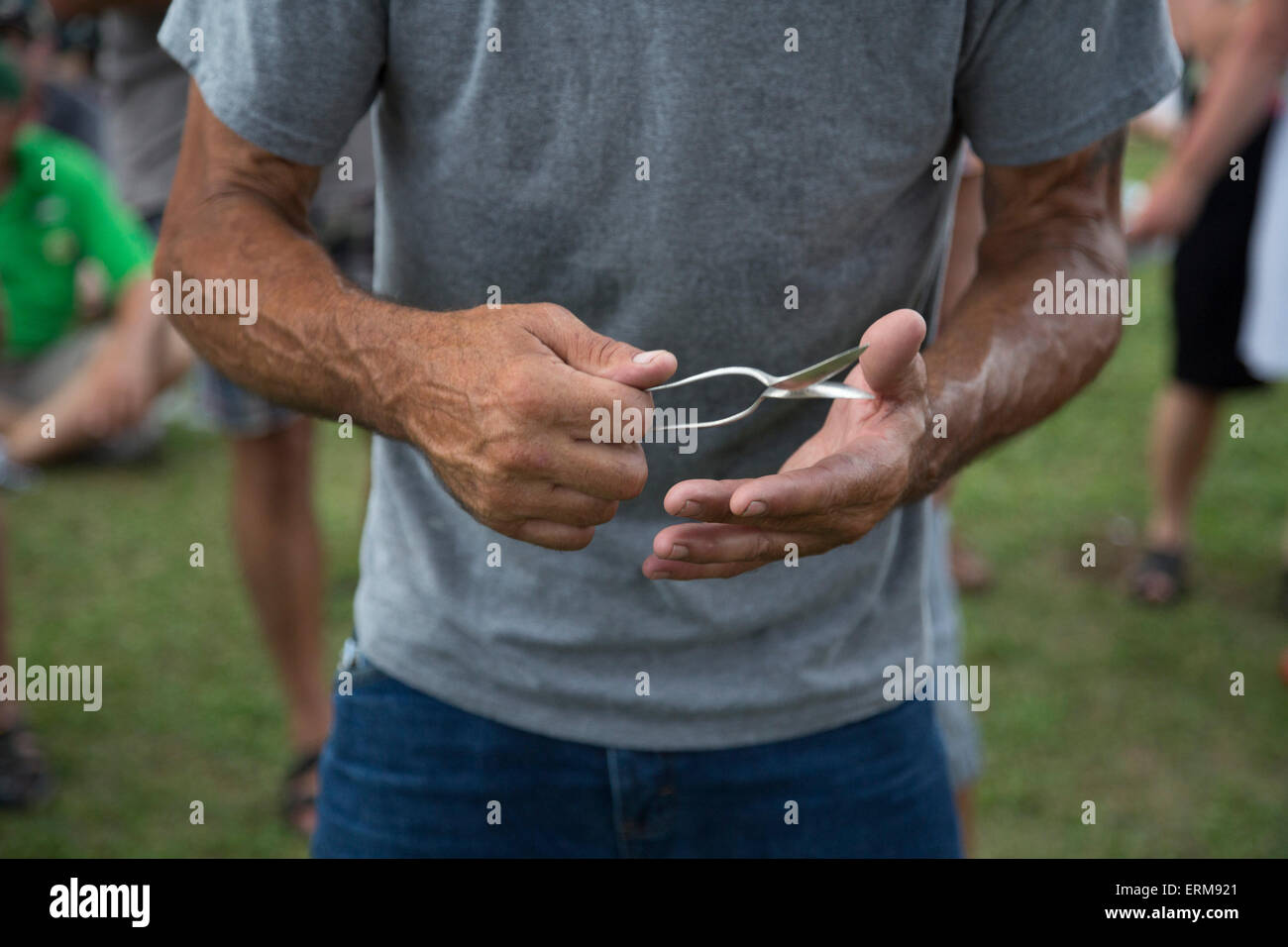 New Orleans, Louisiana - A man plays the spoons during the Mid-City Bayou Bougaloo. - Stock Image