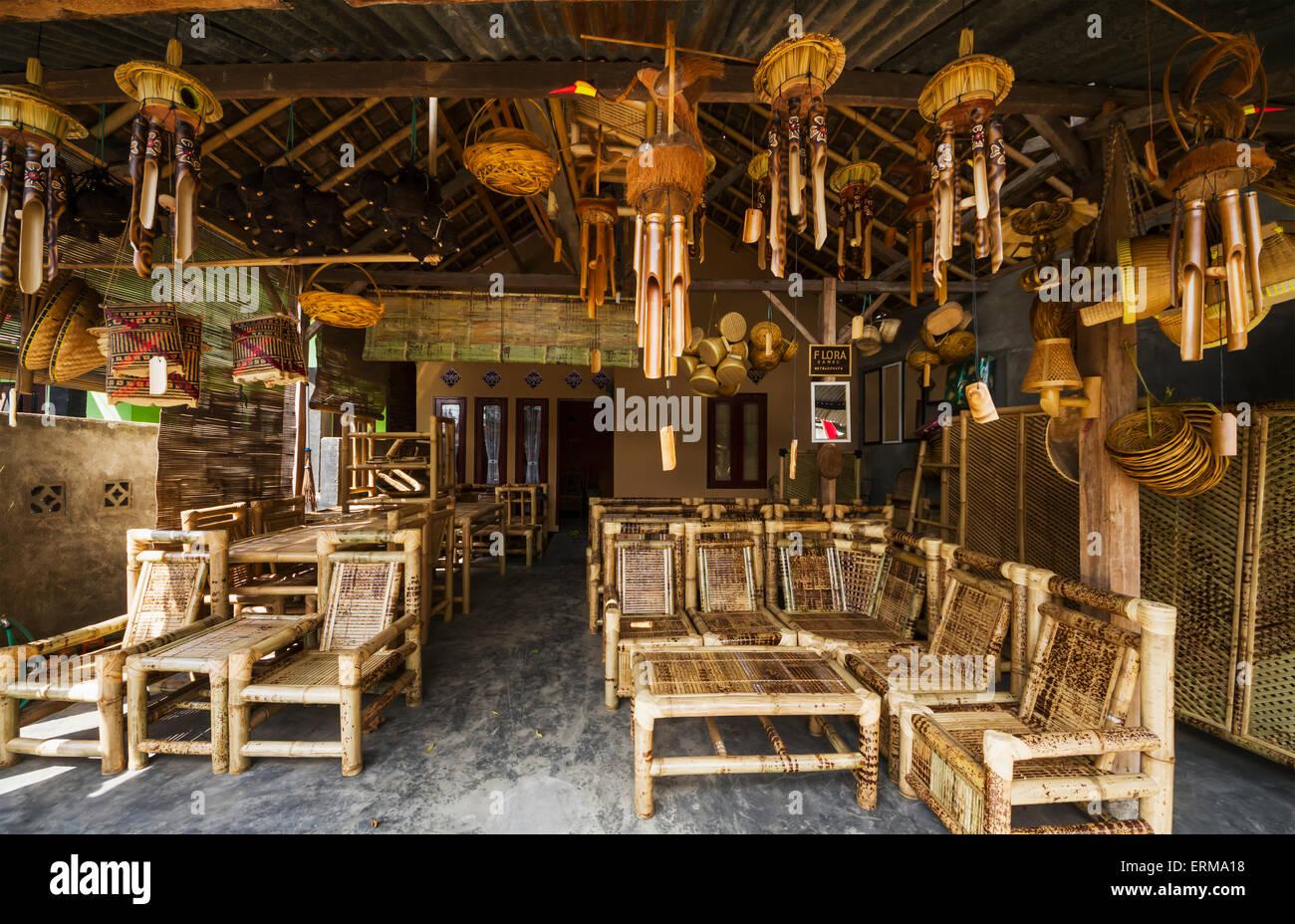 handicrafts; arts; crafts; Indonesia; Indonesian; Java; Lombok; West Nusa Tenggara; bamboo - Stock Image