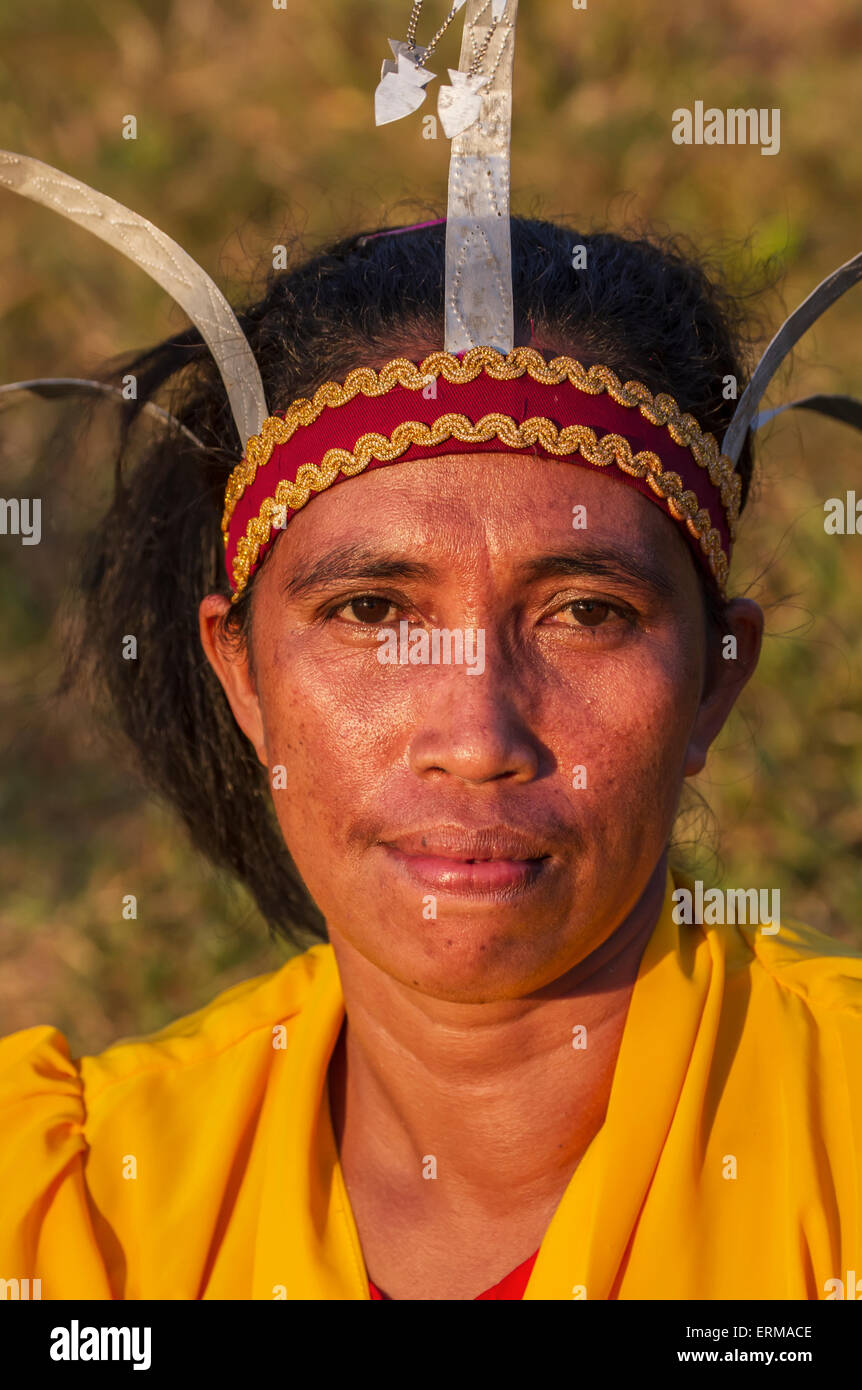 Manggarai woman wearing a traditional headdress, Melo village, Flores, East Nusa Tenggara, Indonesia - Stock Image