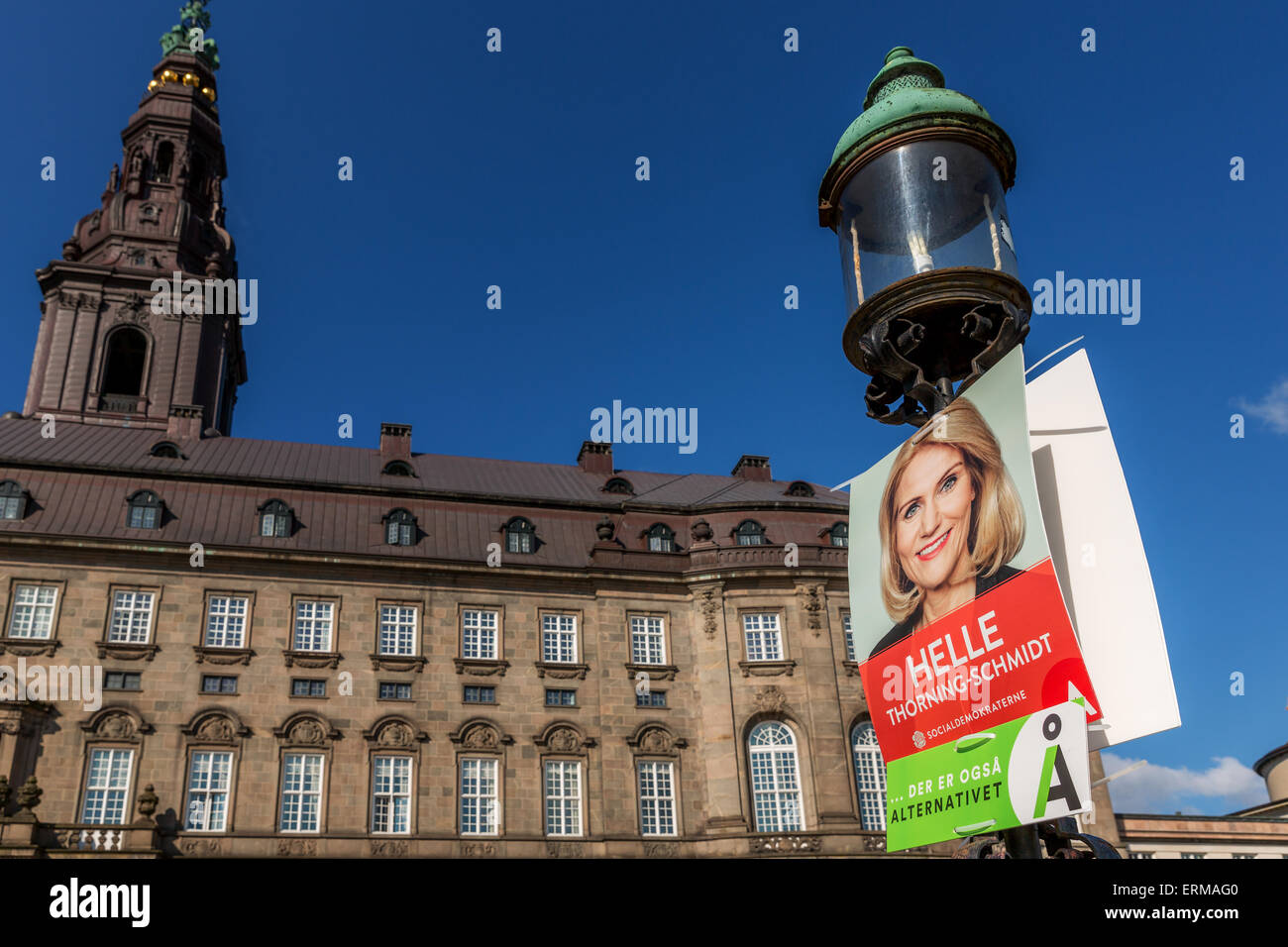 Election poster promoting Helle Thorning-Schmidt in front of the Danish Parliament, Copenhagen, Denmark - Stock Image