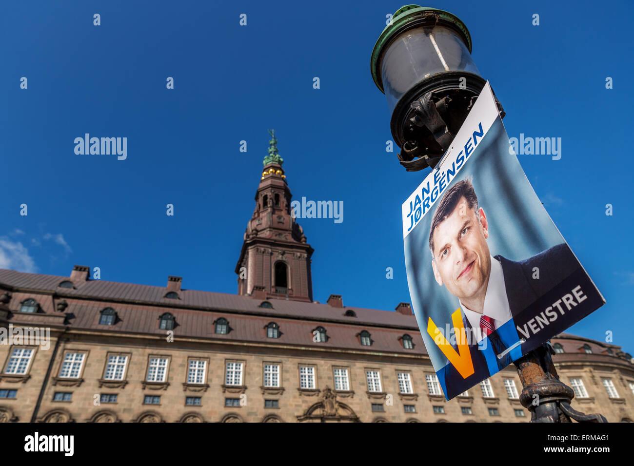 Election poster promoting Jan E. Jørgensen in front of the Danish Parliament, Copenhagen, Denmark - Stock Image