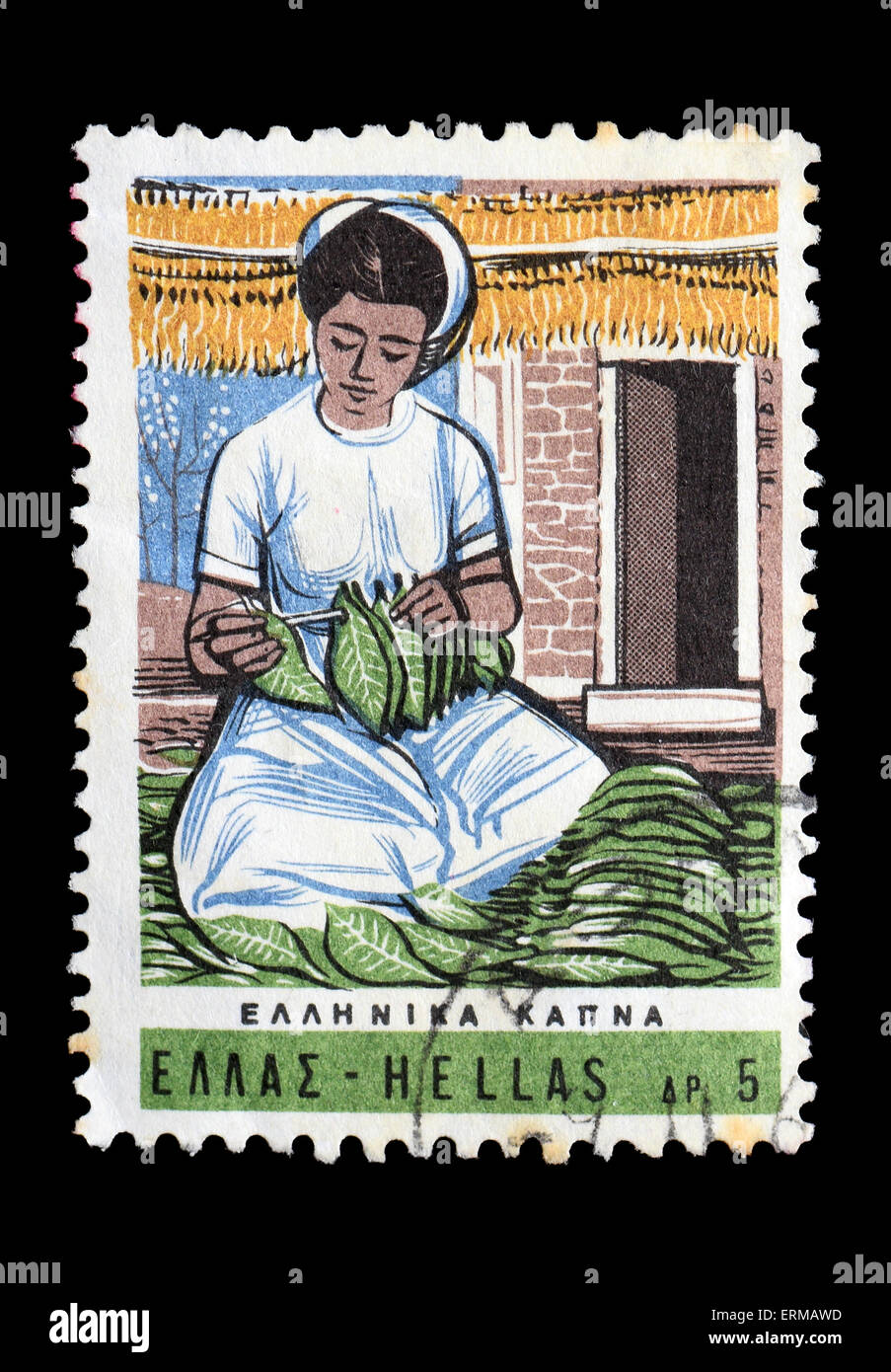Woman farmer processing tobacco leaves vintage illustration on postage stamp printed for the Hellenic Post Office. - Stock Image