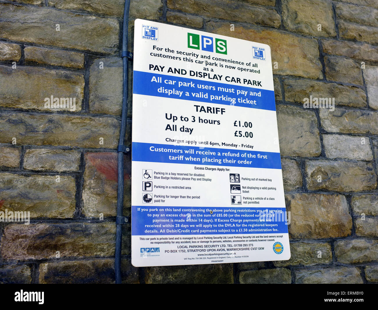 A pay and display parking sign in Bristol. - Stock Image