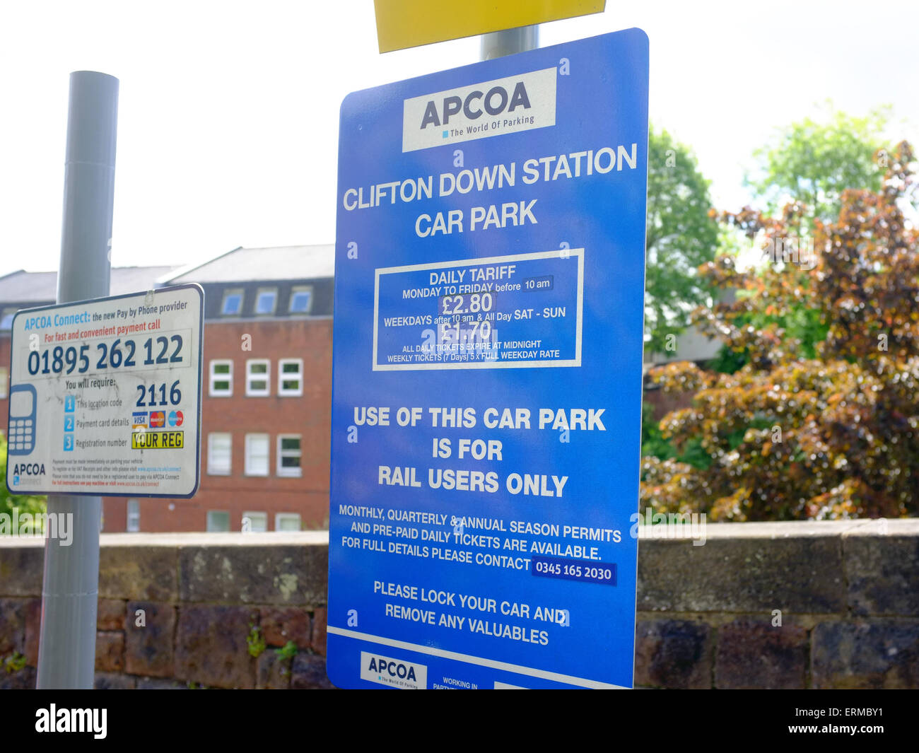 A daily tariff parking sign at the Clifton Down Station car park in Bristol. - Stock Image