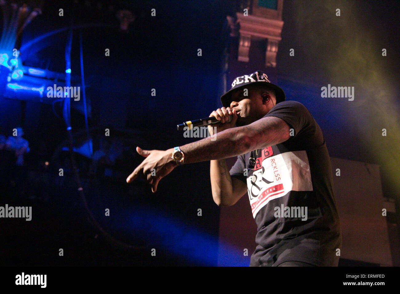 Birmingham, UK, 04 June 2015, Nas Performs 'Illmatic' at the Birmingham leg of his UK Tour, in Birmingham. - Stock Image