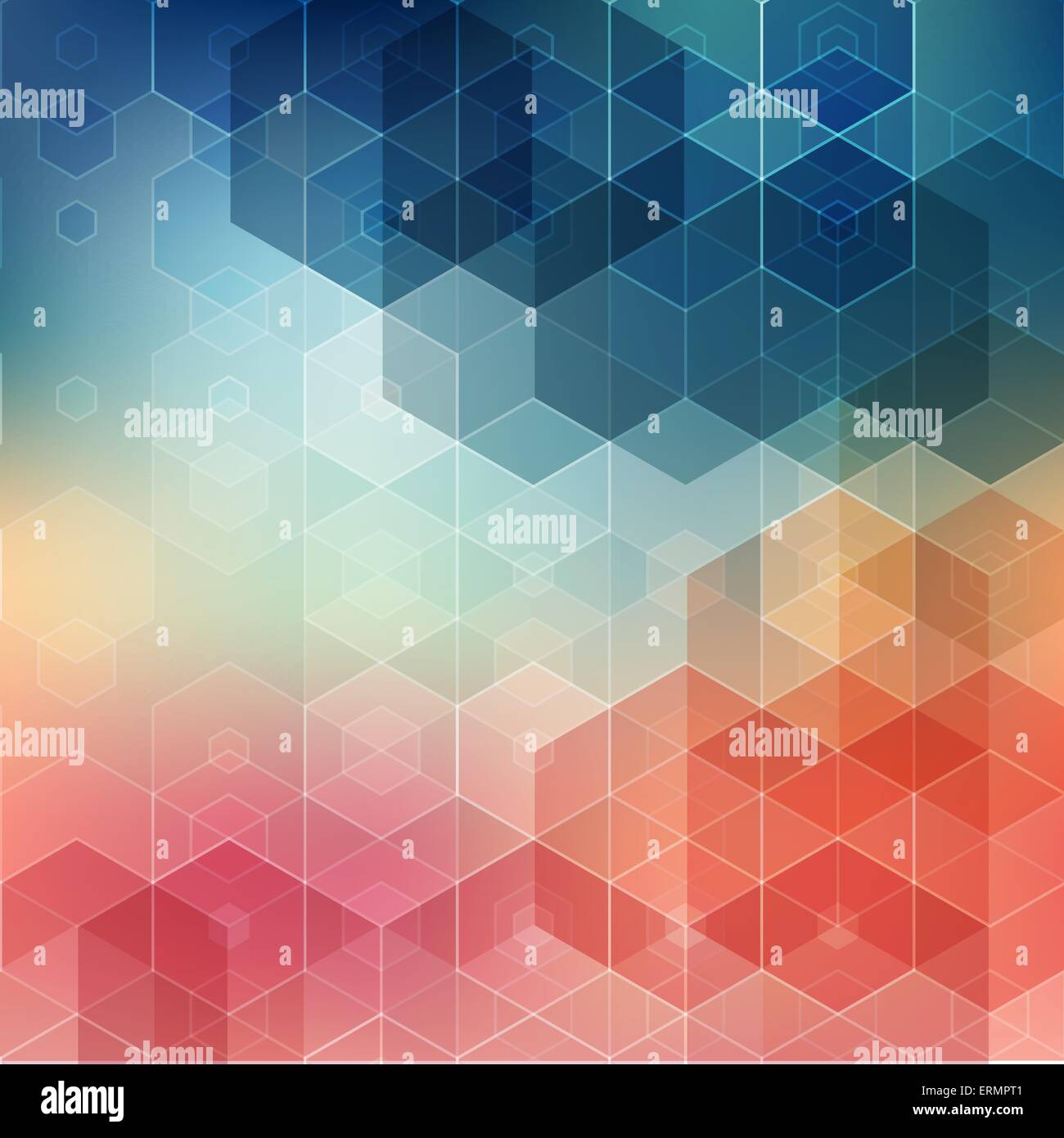 Vector  illustration Abstract geometric background with hexagon - Stock Image
