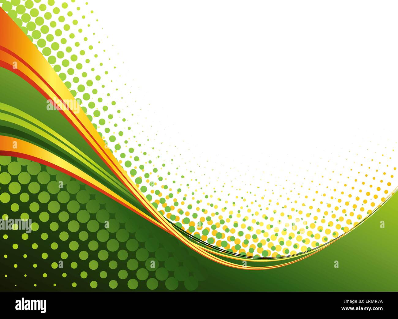 Vector Abstract Green Color Curved Lines Background With