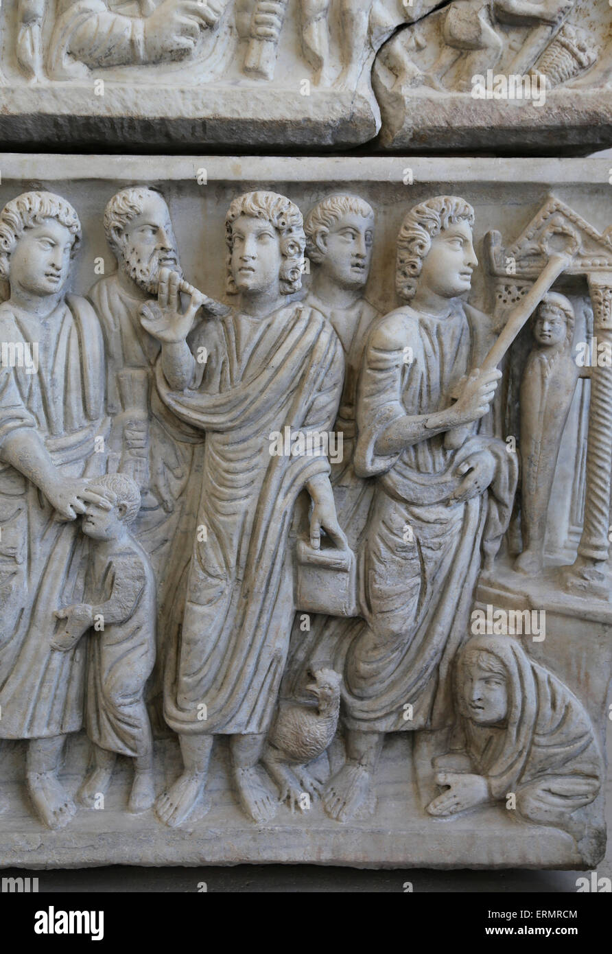 Early Christian. Roman sarcophagus of Marcus Claudianus (330-335 AD). The Curing of the blind man, the prediction - Stock Image