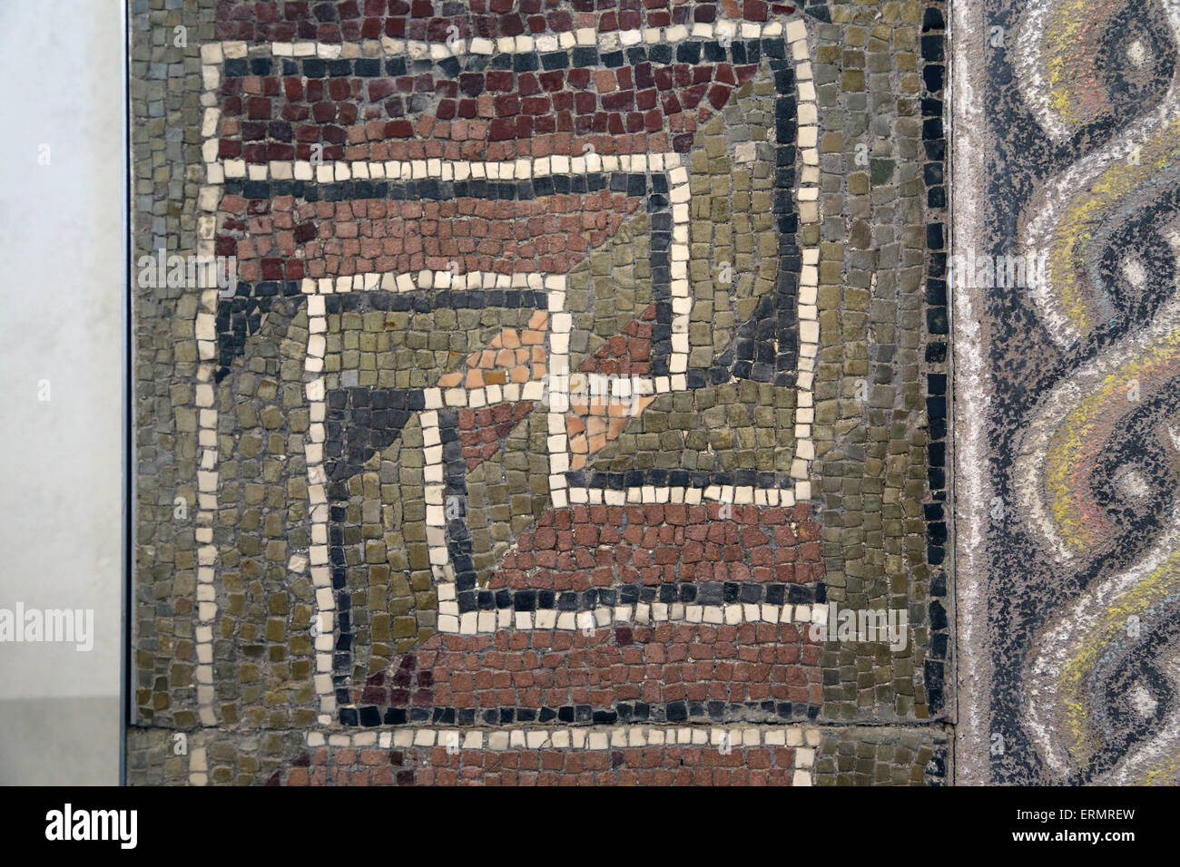 Roman mosaic. Geometric decoration in perspective. 1st century AD. Rome. National Roman Museum. Palace Massimo. - Stock Image