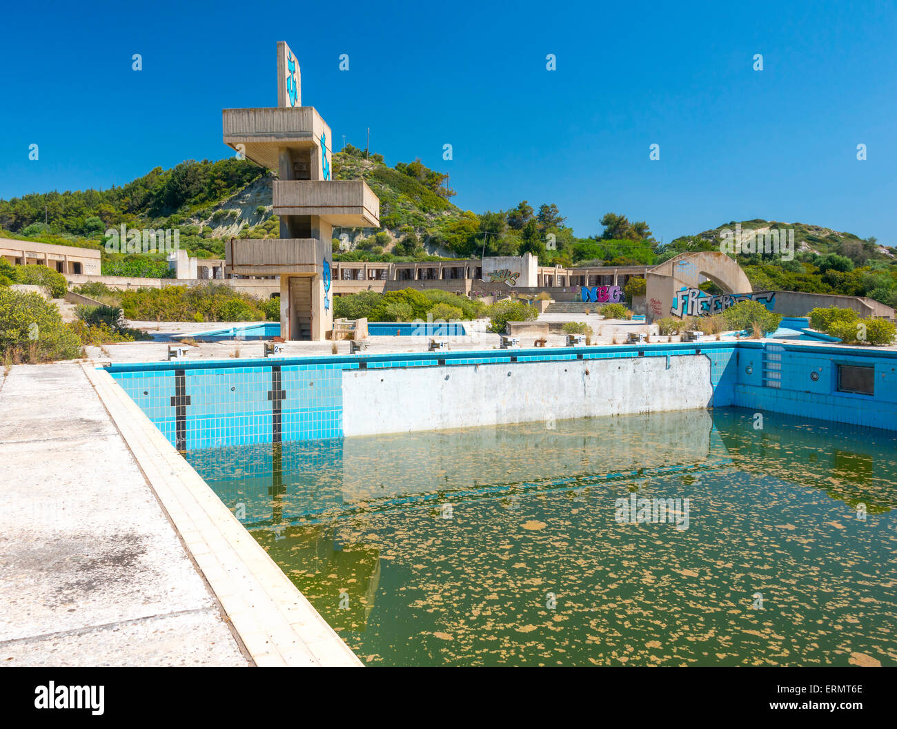 An Abandoned Lido Complex On The Island Of Rhodes In Greece Where The Stock Photo Alamy