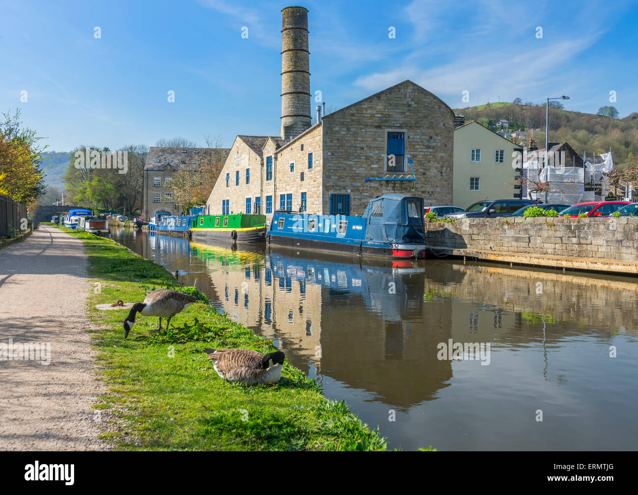 The pretty tourist town of Hebden Bridge in the South Pennine region of West Yorkshire - Stock Image