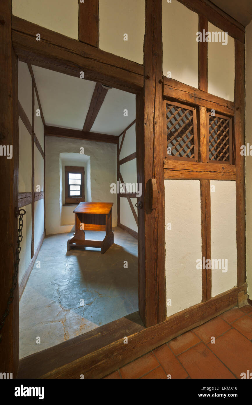 Monk's cell in the Augustinian monastery, museum, Martin Luther lived here 1505-1508, historic centre, Erfurt, - Stock Image