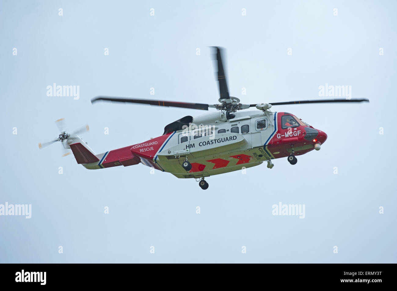 The Scottish Search and Rescue Coastguard S92A helicopter based at Inverness.  SCO 9844. - Stock Image