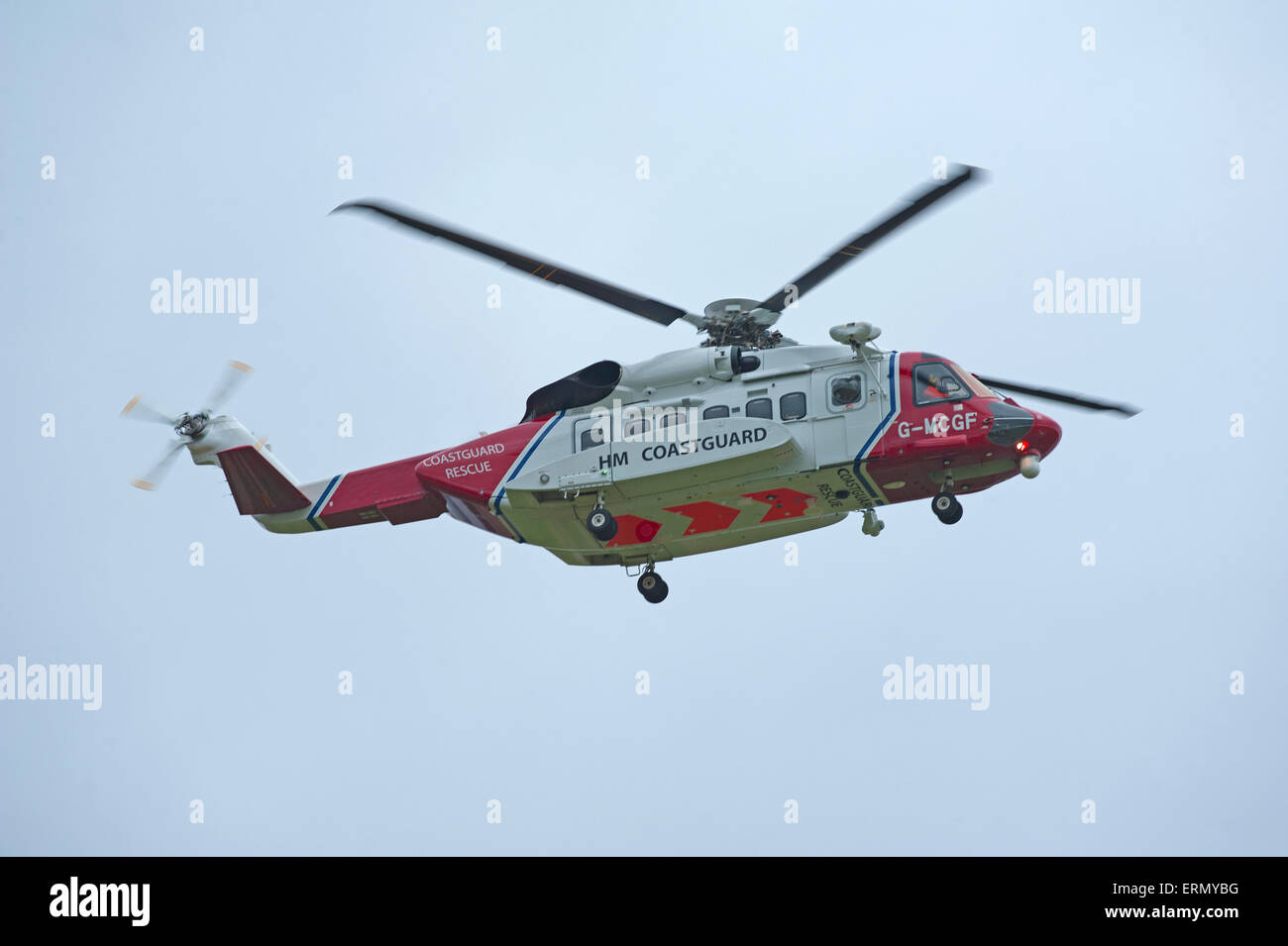The Scottish Search and Rescue Coastguard S92A helicopter based at Inverness.  SCO 9845. - Stock Image