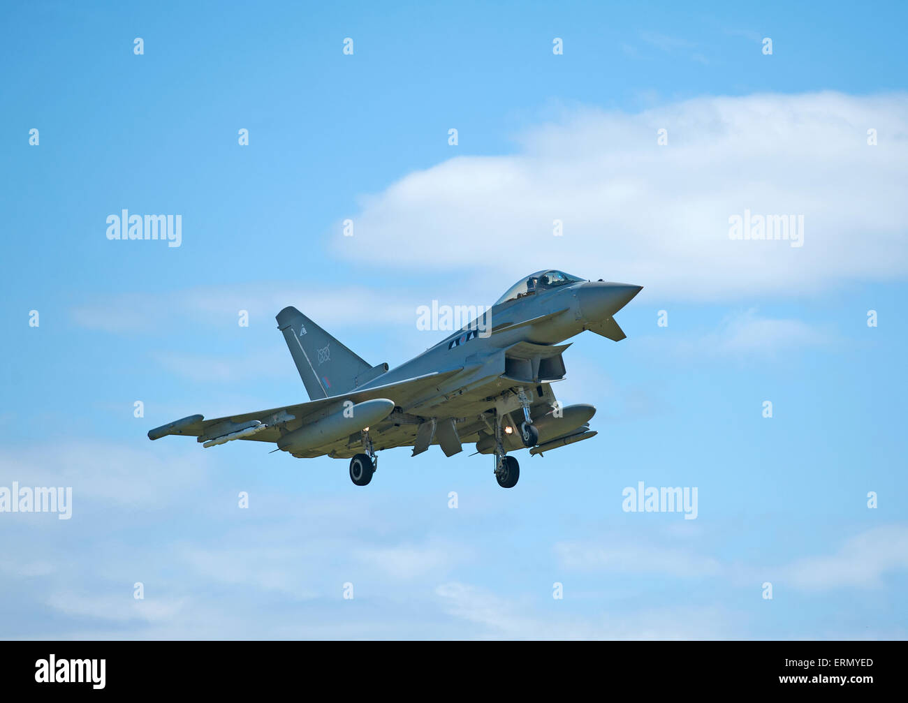 Eurofighter Typhoon fast fighter jet returning to RAF Lossiemouth home base in Scotland.  SCO 9851. - Stock Image