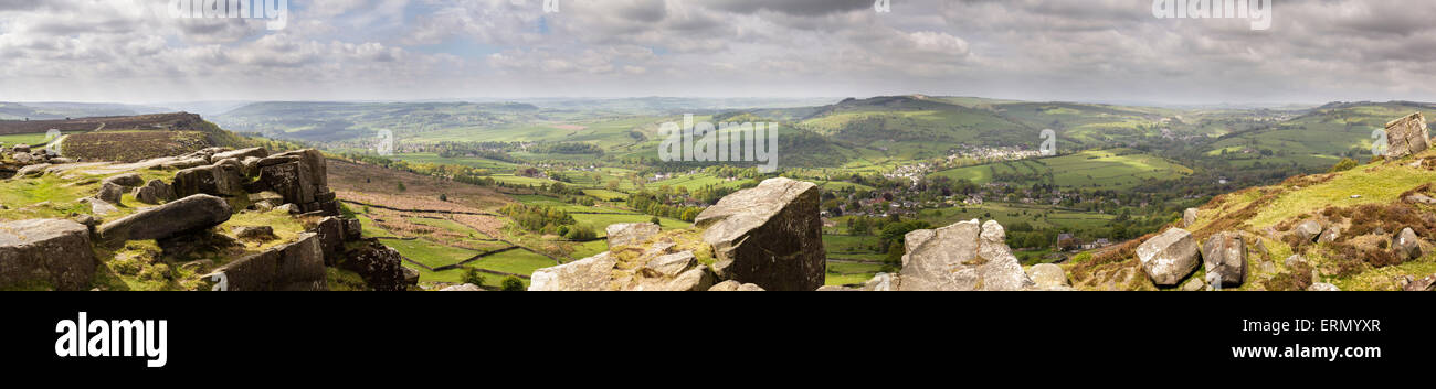 view from Curbar Edge, Derbyshire, England - Stock Image
