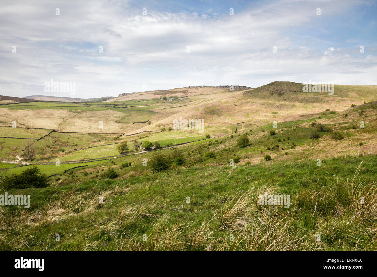 view towards The Dale and Stanage Edge, Derbyshire, England - Stock Image