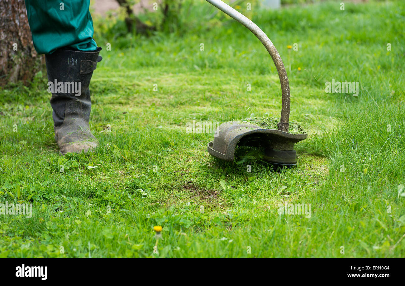 Man mowing the grass with electric trimmer, selective focus - Stock Image