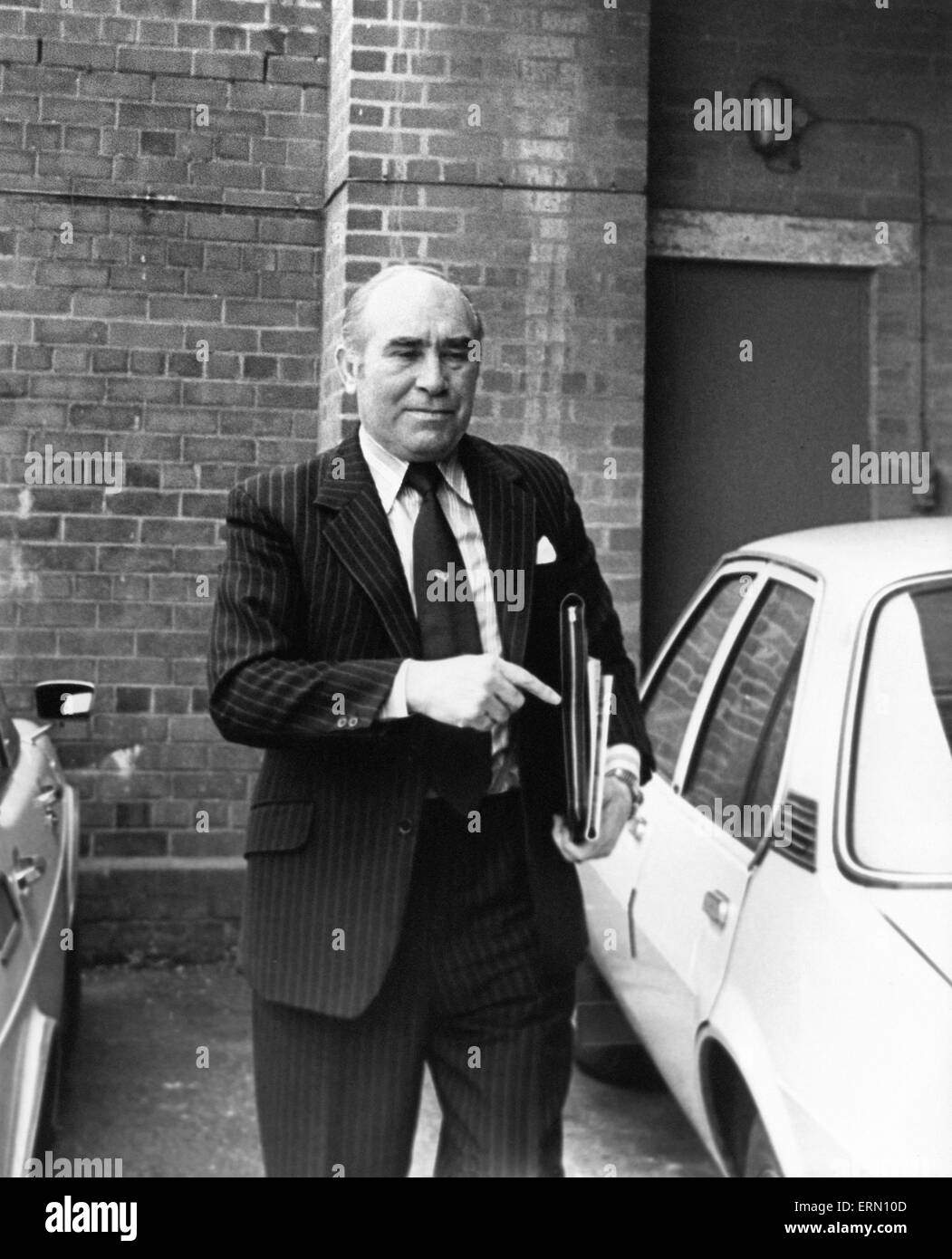 Birmingham City manager Sir Alf Ramsey held a press conference at the Birmingham training ground. 8th March 1978. - Stock Image