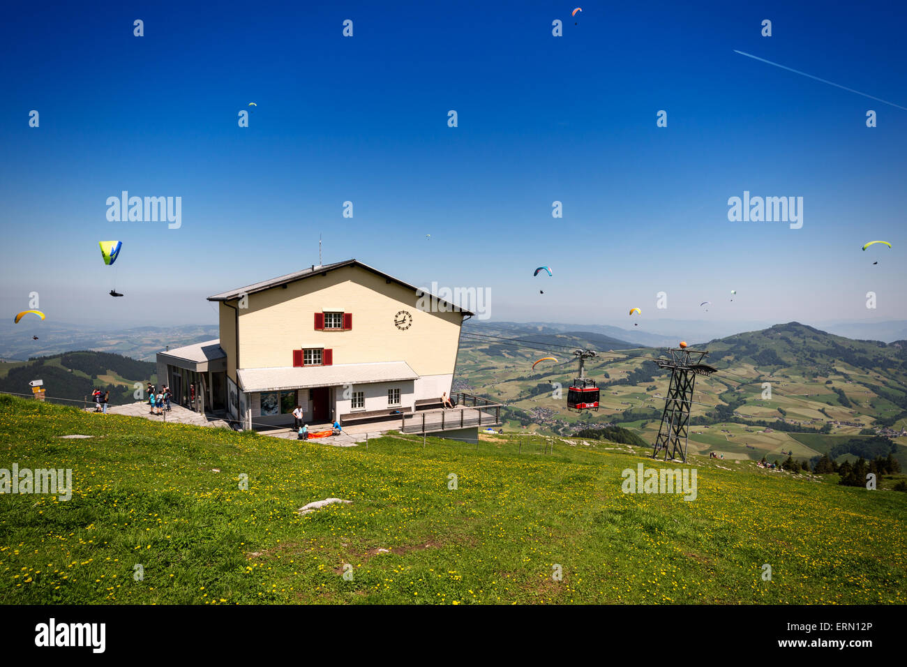 Summit station of the Ebenalp cableway in Switzerland - Stock Image