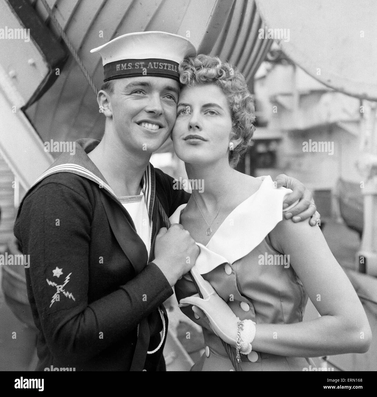 Love and Romance on board the Frigate HMS St Austell,  who arrived at Her Majesty's Naval Base Devonport, 12th - Stock Image