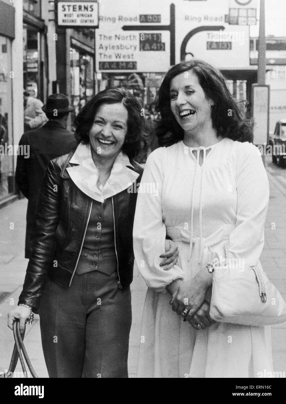 Betty Williams right and Mairead Corrigan chief architects of the newly formed peace movement in Belfast seen here - Stock Image