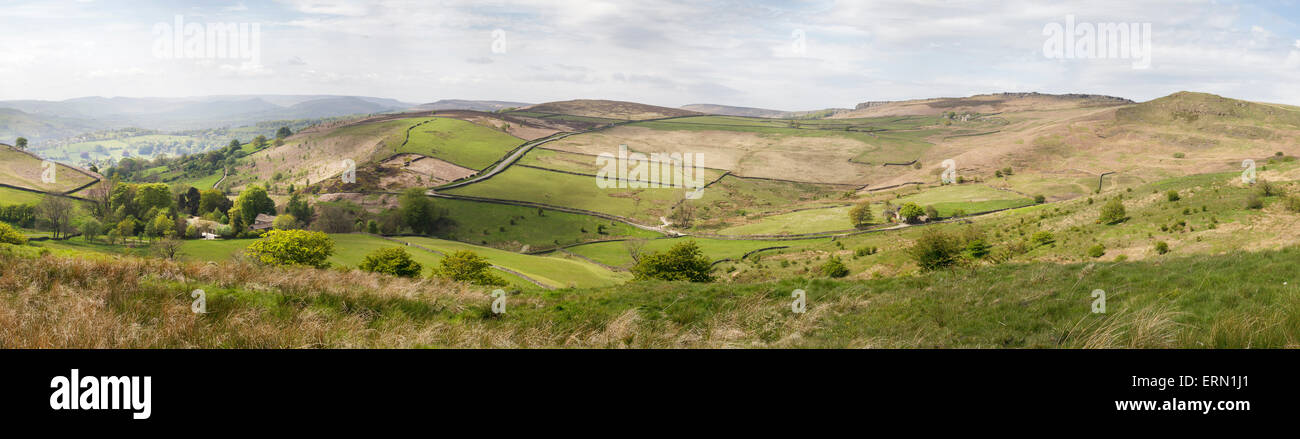 view over Hope Valley, The Dale and Stanage Edge, Derbyshire, England - Stock Image