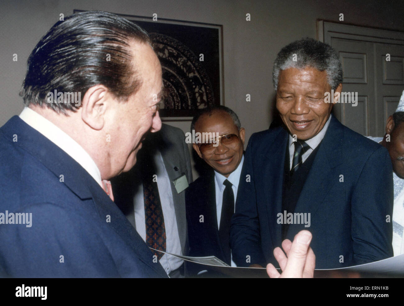 Nelson Mandela, deputy Leader, African National Congress, visits London, UK for the first time since his release Stock Photo