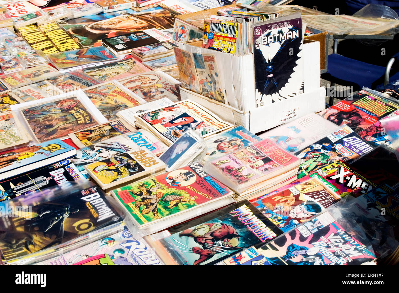 comic comics fair collector collectors collection fairs hobby hobbies collecting collections marvel dc american - Stock Image