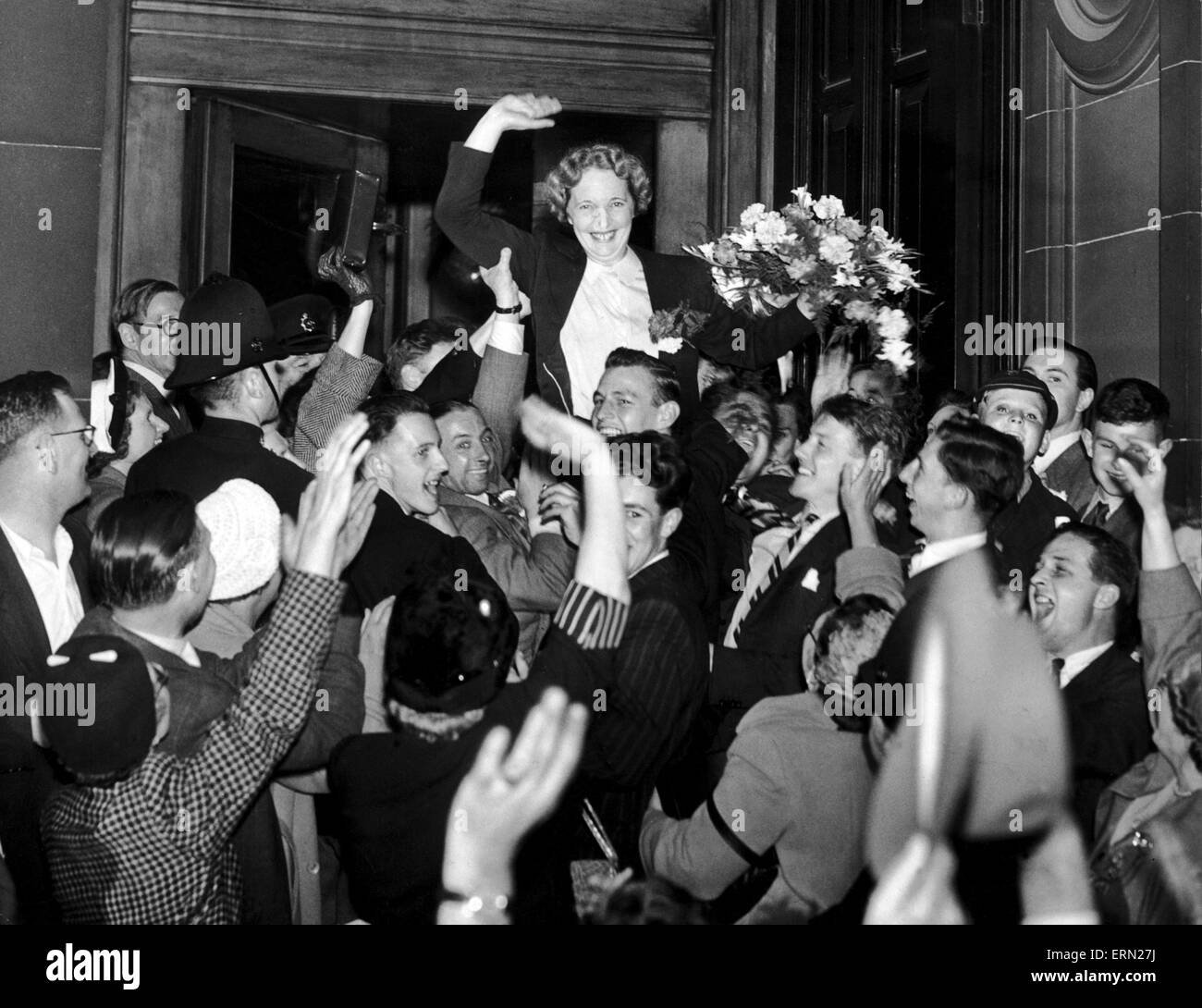 Edith Pitt, Conservative MP for Edgbaston is cheered by supporters after results are announced, Birmingham, 3rd - Stock Image