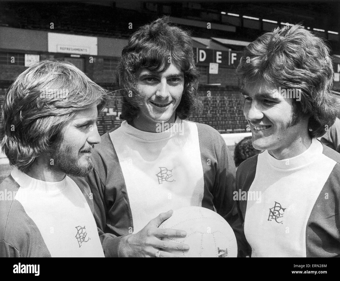 Birmingham City players left to right: Phillips, Trevor Francis and Osborne, all newly weds. 25th July 1974. - Stock Image