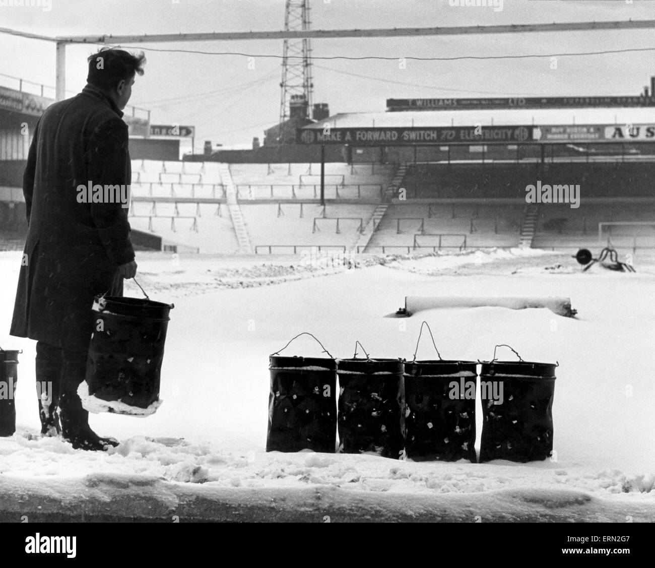 Birmingham City ground St Andrews pitch covered in snow, January 1963. - Stock Image