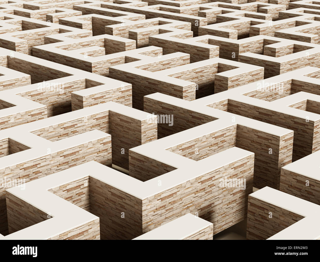 Labyrinth from vanishing perspective . - Stock Image
