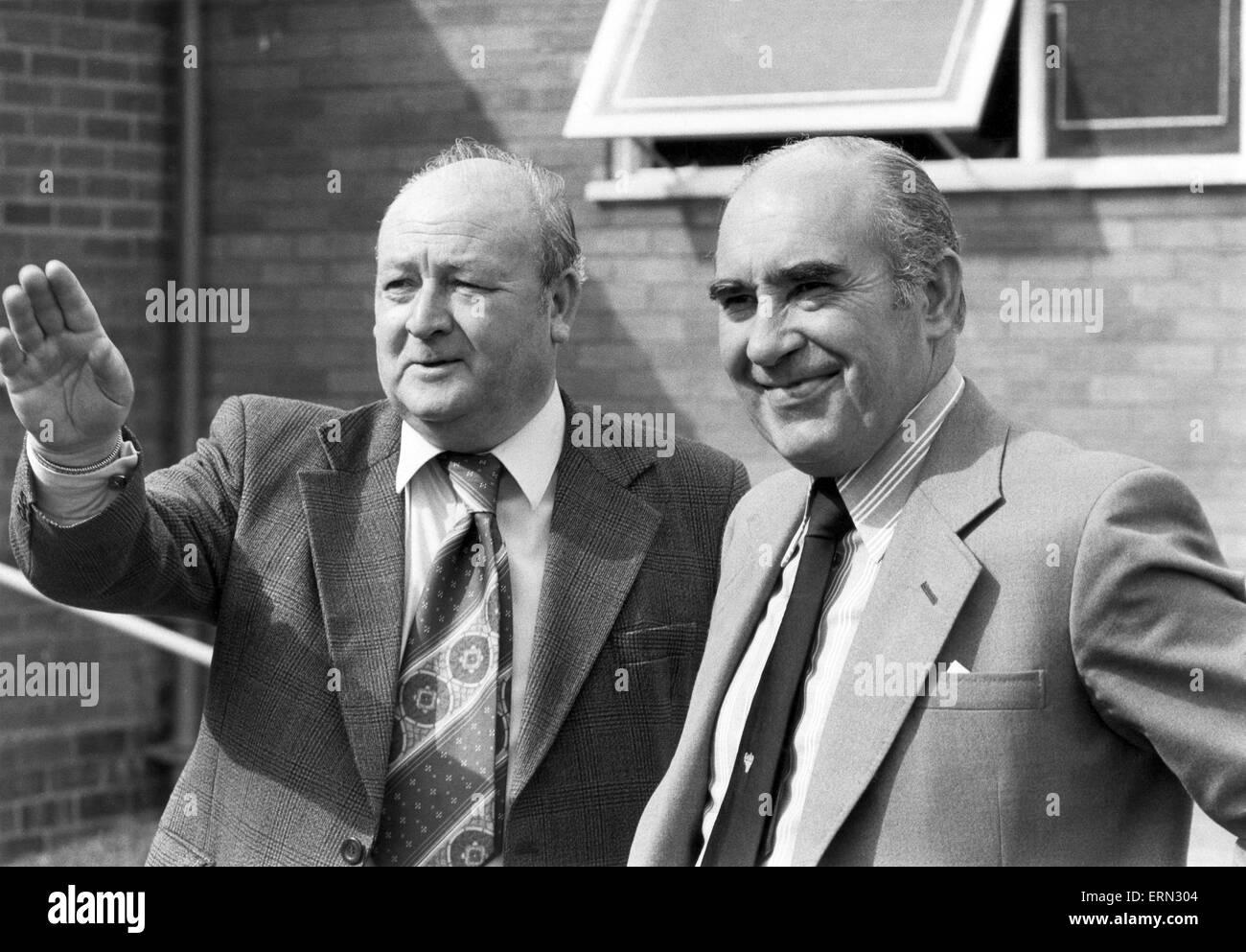 Birmingham City manager Sir Alf Ramsey with Club Secretary Alan Instone, November 1977. - Stock Image