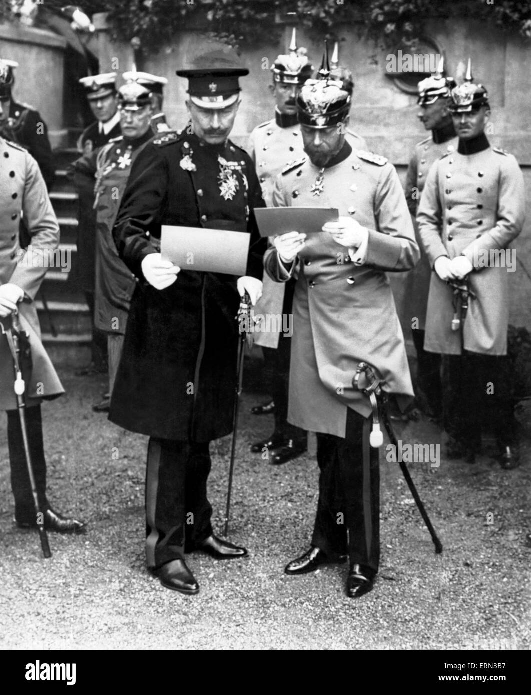 King George V accompanied by his cousin Kaiser Wilhelm II of Germany, pictured visiting his German Regiment the - Stock Image