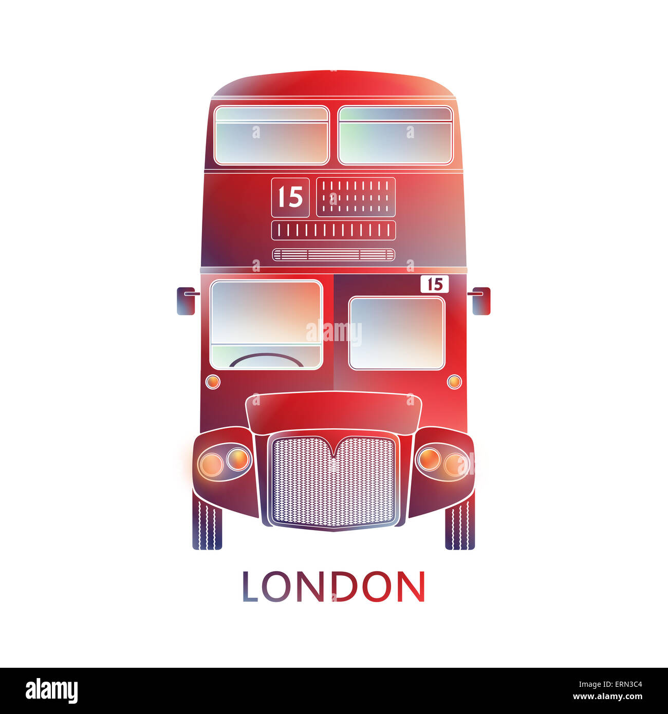 London symbol  -  Red bus icon – Colorful  graphics - Modern design. llustration simplified, info - graphics, silhouette - Stock Image