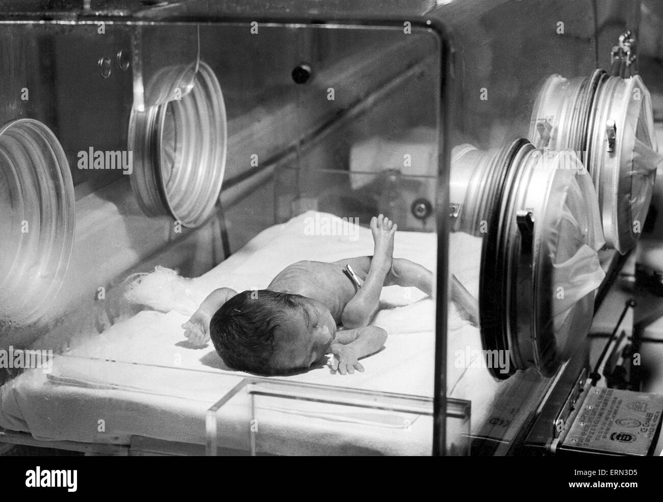 Baby in an incubator in hospital, 15th May 1956 - Stock Image