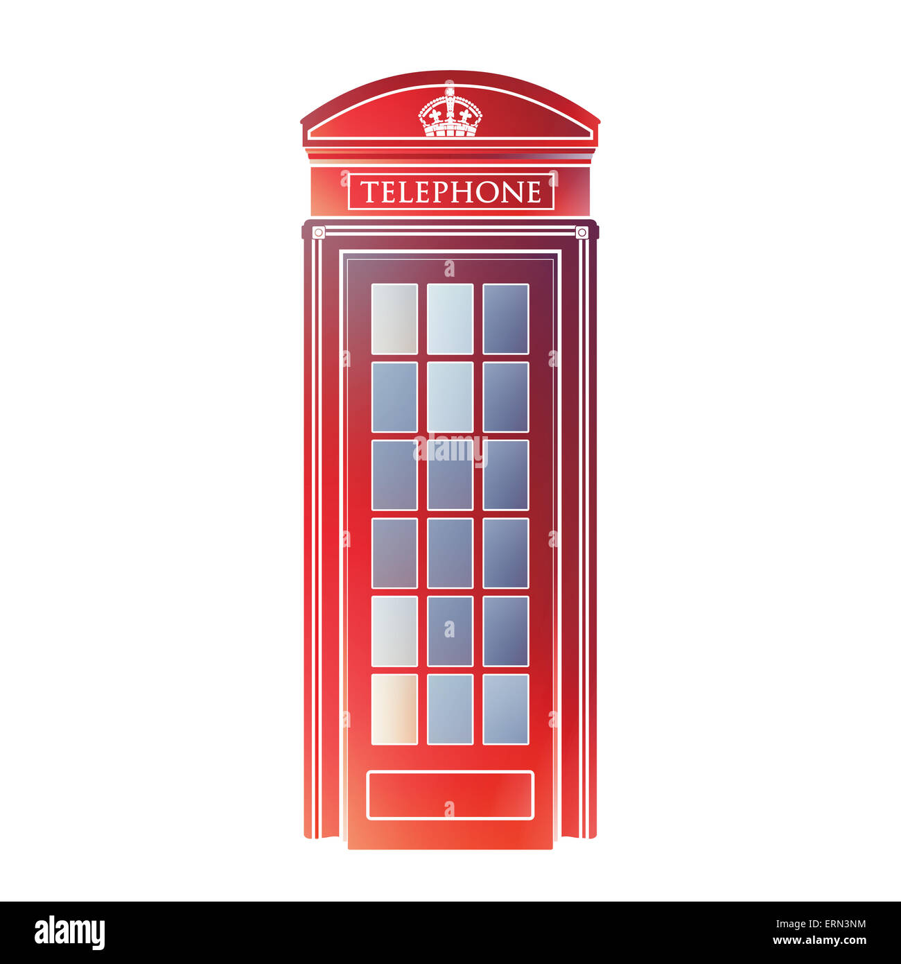 London symbol  -  Red telephone box icon – Colorful booth graphics - Modern design - isolated symbol - watercolor - Stock Image