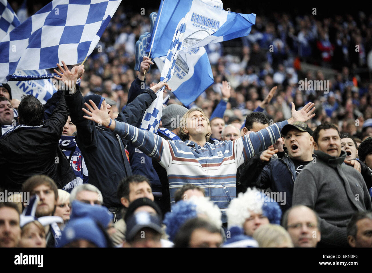 League Cup Final at Wembley Stadium. Birmingham City 2 v Arsenal 1. Birmingham fans in the crowd. 27th February - Stock Image