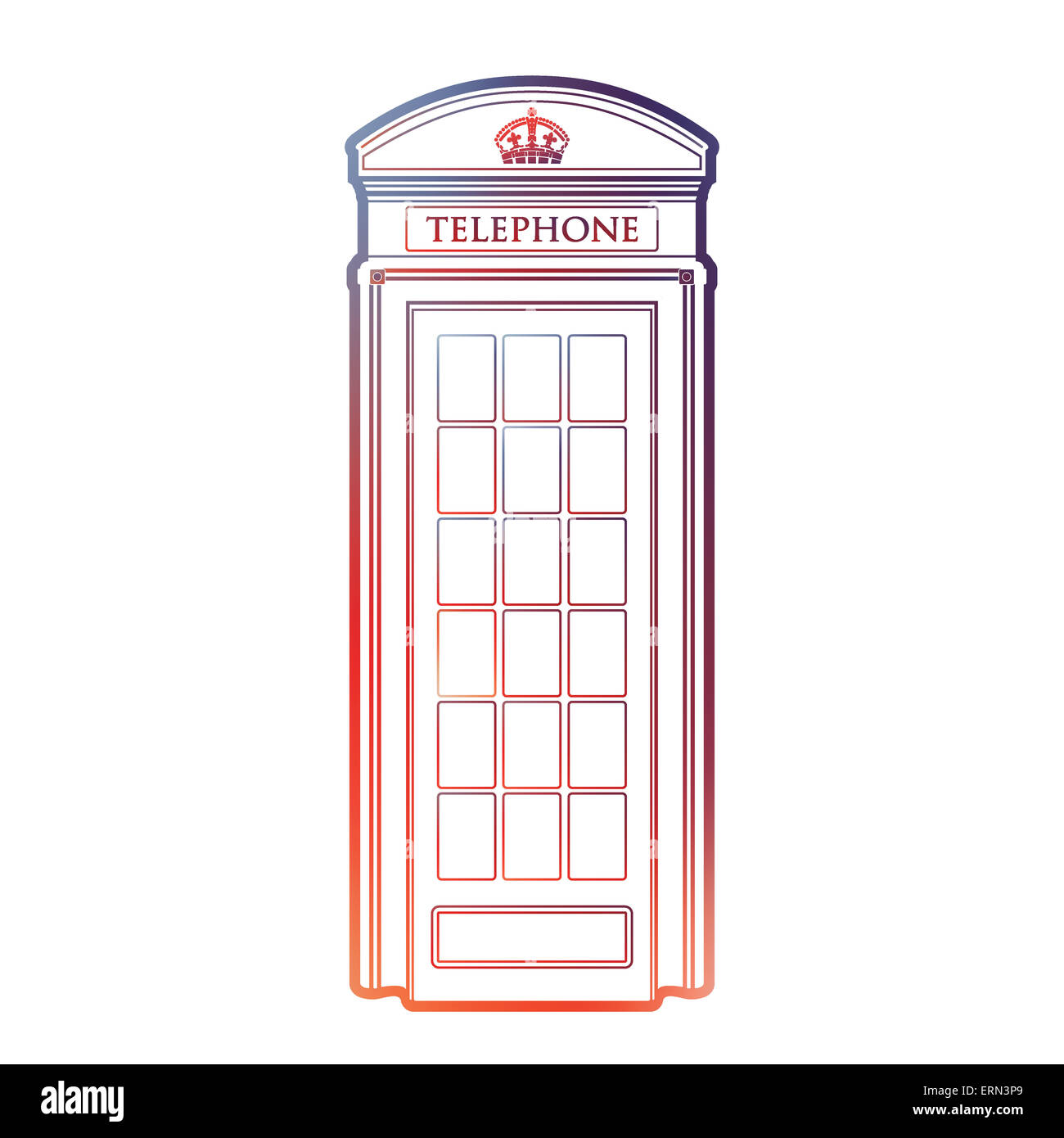 London symbol  -  Red telephone box icon – Colorful and linear booth graphics - Modern outline design - isolated - Stock Image