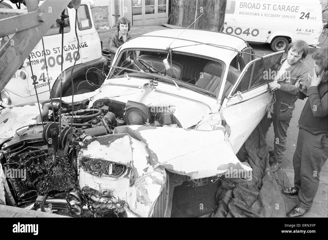 Don Powell, drummer with Slade, was badly injured in a serious car crash in Wolverhampton, in which his girlfriend - Stock Image