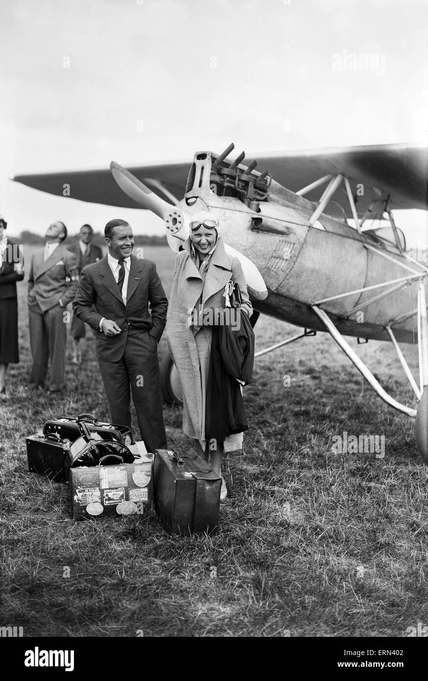 Pilots from 16 countries gather at Heston Aerodrome 1st September 1932 - Stock Image