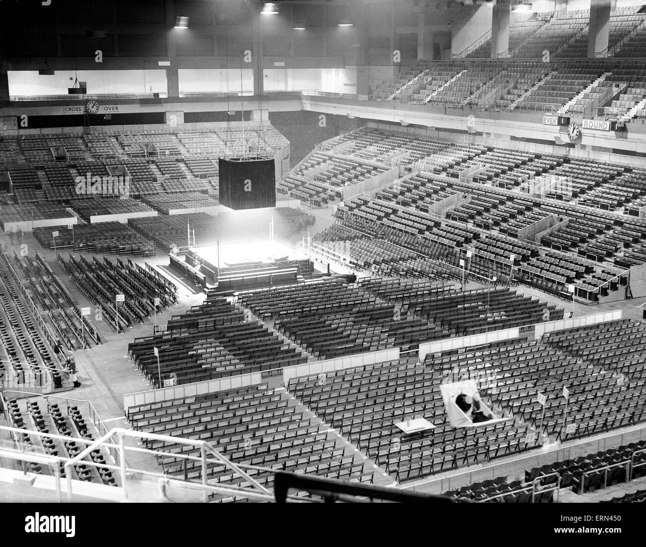 General view of the Arena Empress hall for Freddie Mills vs Joey Maxim Light Heavyweight Championship of the World - Stock Image