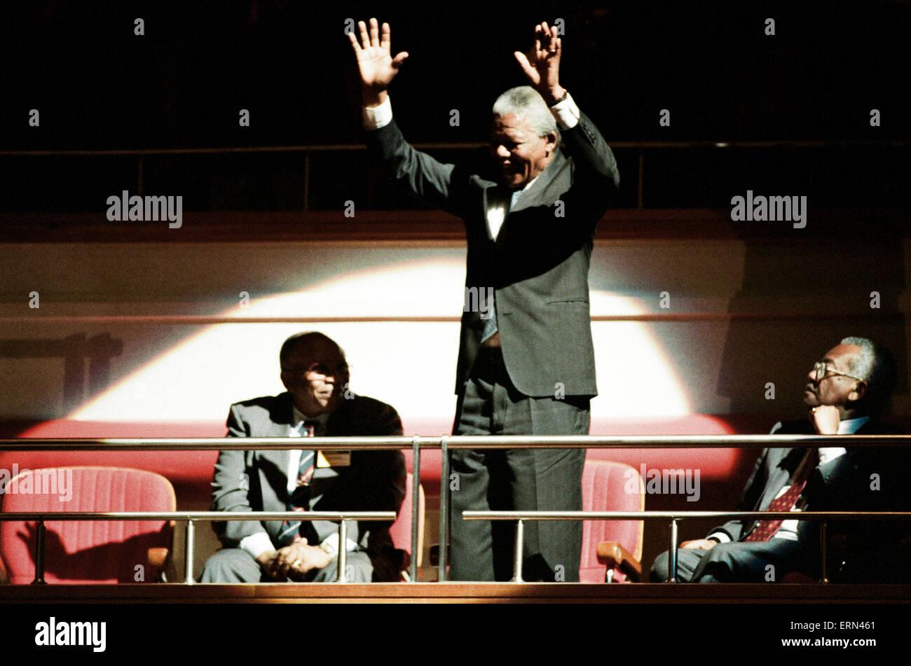 Nelson Mandela speaks at ICC, Birmingham, 10th October 1993. - Stock Image