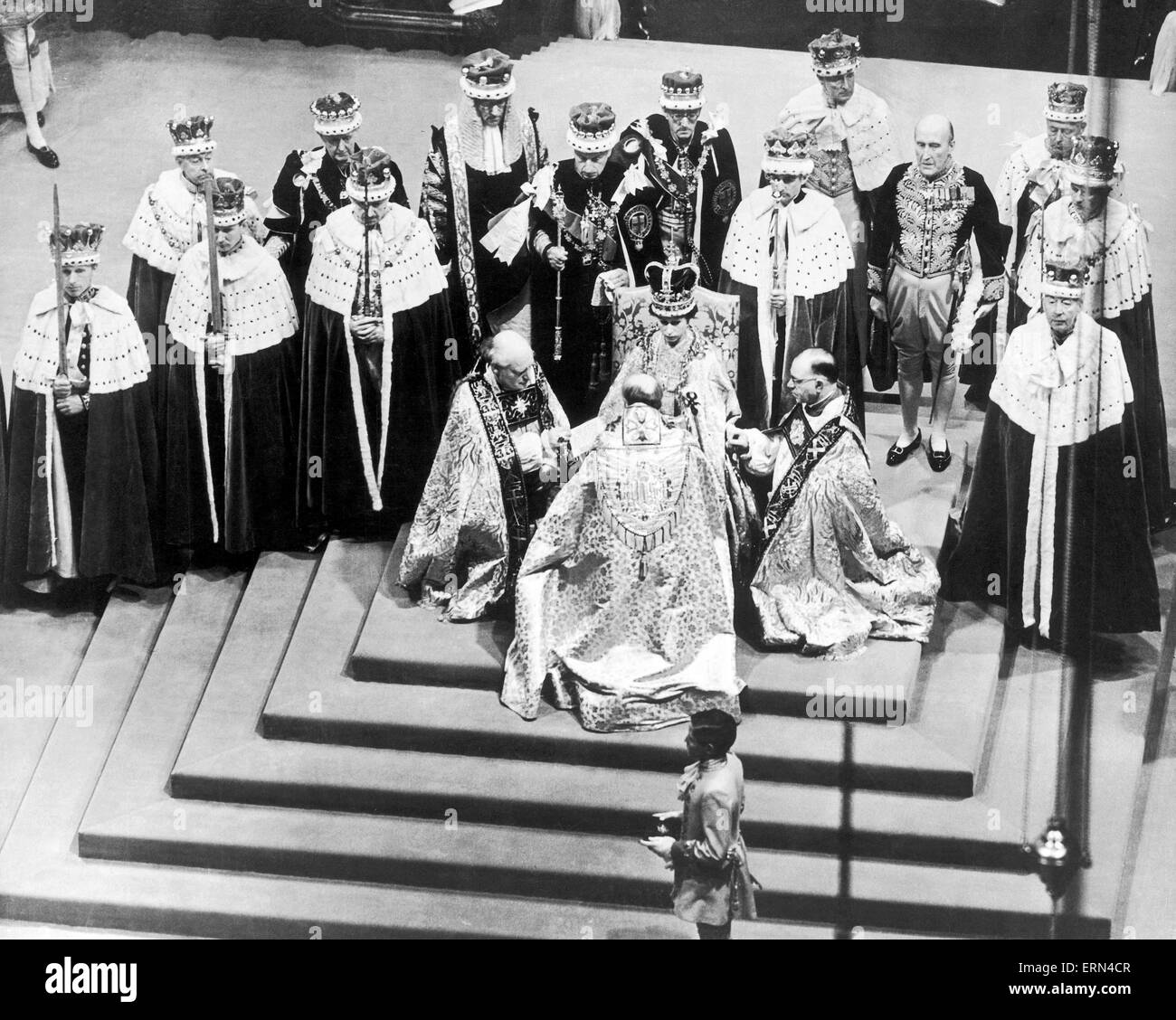 The Coronation of Queen Elizabeth II was the ceremony in which the newly ascended monarch, Elizabeth II, was crowned Stock Photo