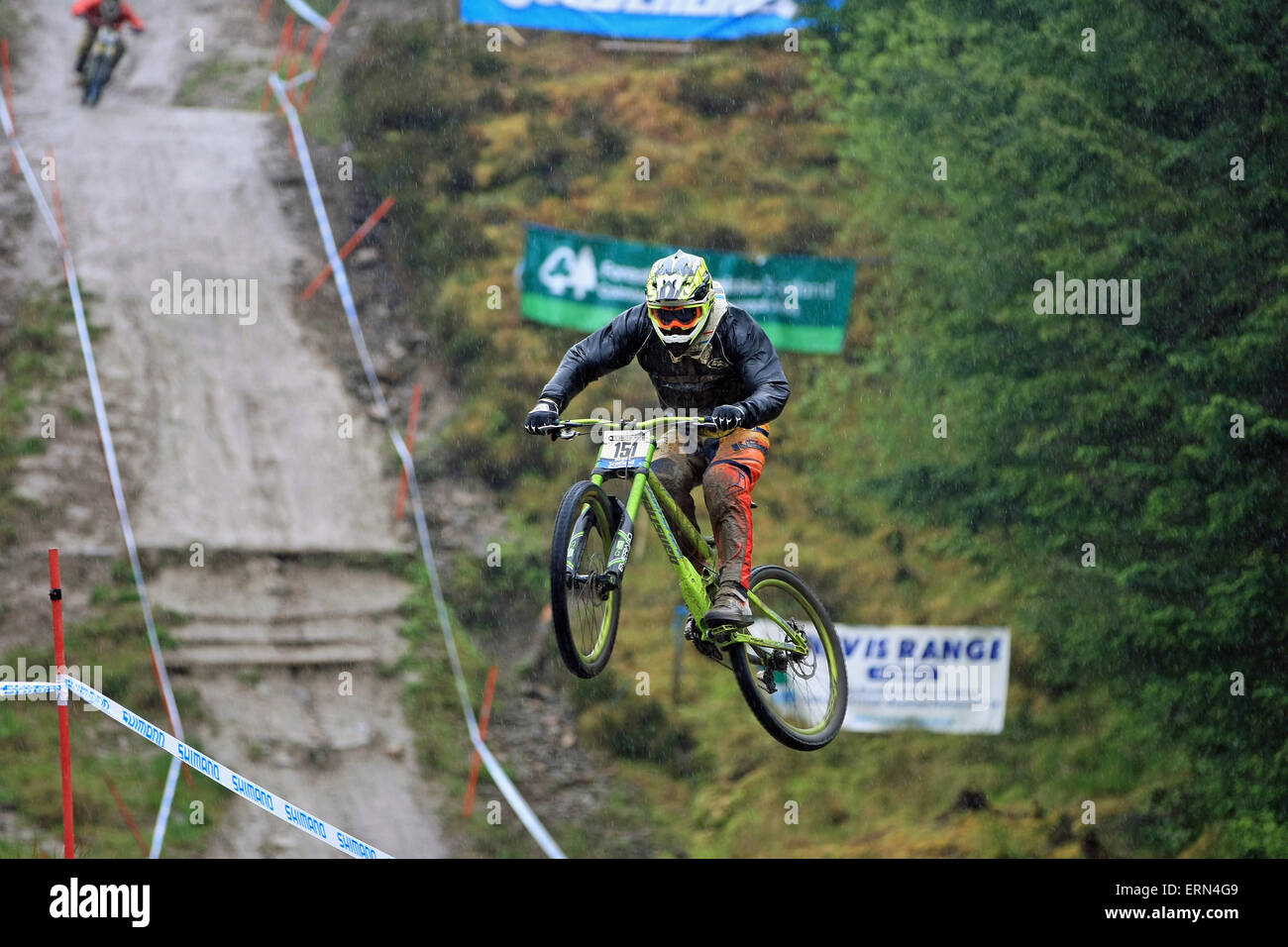 Fort William, Scotland, UK. 5th June, 2015.The heavy rain didn't stop riders practicing on the course for round - Stock Image